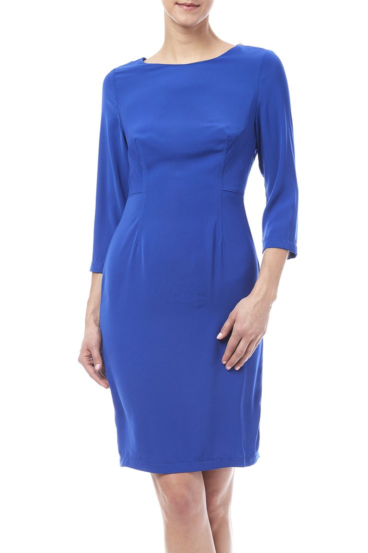 Knee-Length dress, with 3/4sleeves, keyhole back and zipper detail on shoulder. Pull up your hair with this vibrant dress, perfect paired with heels and gold jewelry for an eye catching look.   Knee Length Sheath Dress by Blvd. Clothing - Dresses Illinois