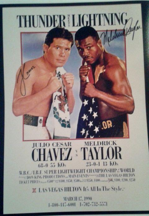 Julio Cesar Chavez & Meldrick Taylor Signed 16x20 Photo