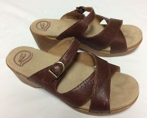 Dansko Brown Strap Sandals Womens Size 41 Slide Ons Leather Heels Buckle 10.5 | eBay