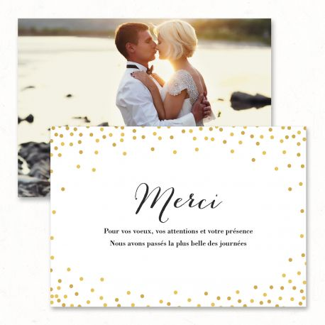 "Wedding thank you card - ""Champagne"", confetti, gold, glitter, romantic, bohemia, party, bubbles, modern - Paper and Love - www.paperandlove.be   __  Carton remerciements de mariage - ""Confetti"", doré, or, romantique, festif, bulles, bohème, moderne, original - Paper and Love - www.paperandlove.be"