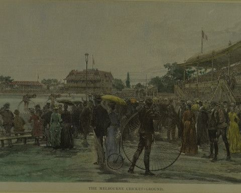 Early Bicycle Racing - Melbourne Cricket Ground c.1886 – Framed vintage print  vintage sport art by ArtSportive