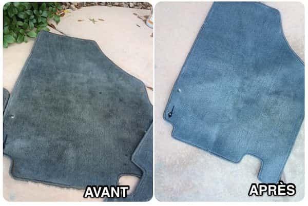 Pour facilement laver les tapis de sol de votre voiture, pulvérisez un peu de détachant dessus et mettez-les dans le lave-linge.
