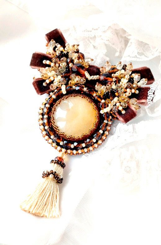 Brown yellow brooch with avanturine and Swarovski by AgijaRezcova, €120.00