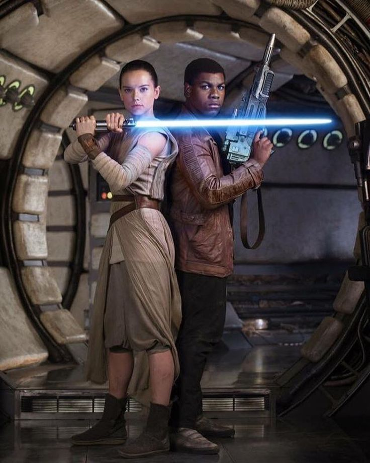 Rey and Finn publicity photo with a lightsaber! #StarWars #TheForceAwakens