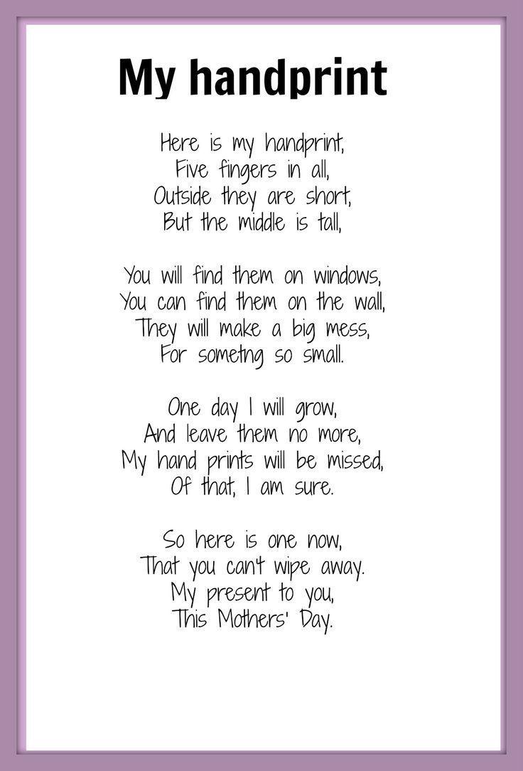 Handprint Poem | Mother's Day poem - My Handprint | KIDSPOT THINGS TO DO: Seasonal occ ...