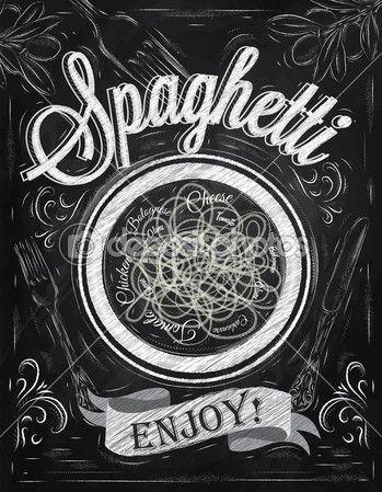 спагетти надписи плаката обладают — Стоковая иллюстрация #34617273