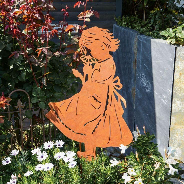 Rm Design Gartendeko Gartenstecker Aus Edelrost Madchen Mit Blume Fur Garten Eur 34 50 Picclick De Blumen Fur Garten Garten Deko Edelrost