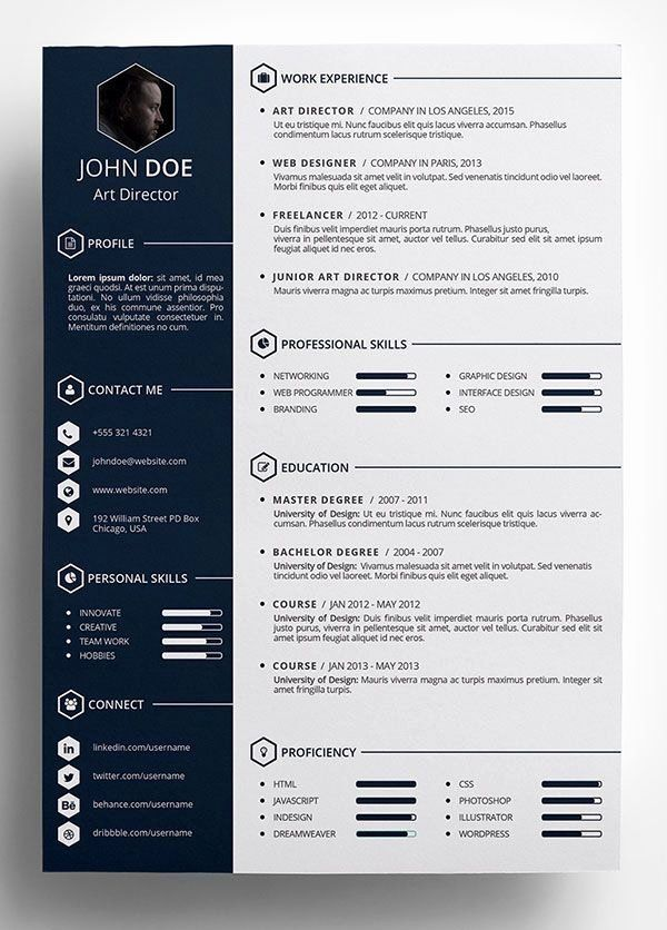 Creative Professional Resume Templates Elegant 10 Best Free Resume Cv Templates In Ai In Best Free Resume Templates Resume Template Word Resume Design Template