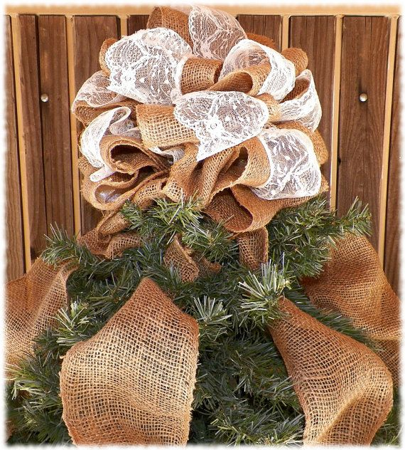 Burlap And Red Christmas Tree: Burlap And Lace Christmas Tree Topper Burlap By