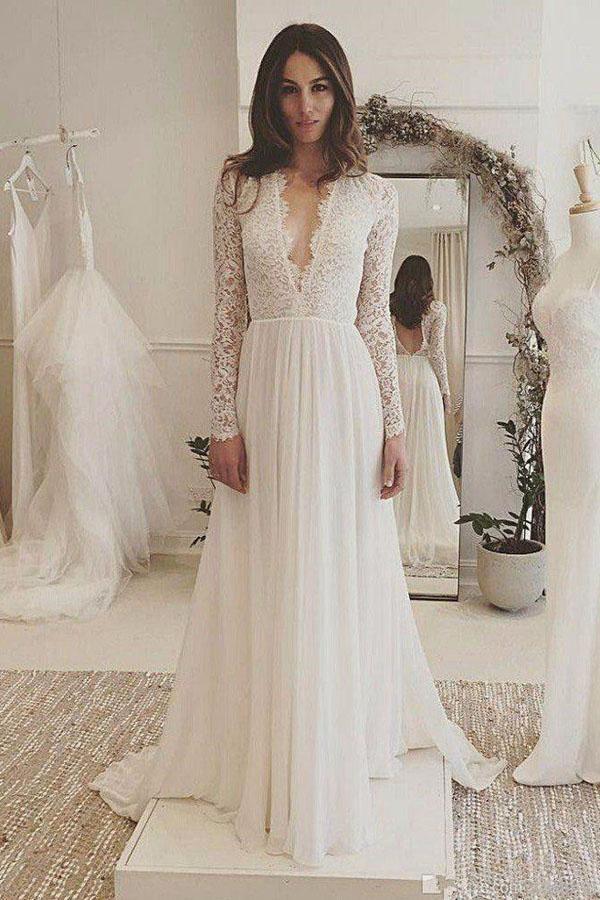 Charming Affordable V-Ausschnitt mit langen Ärmeln Formale Brautkleider, SW129