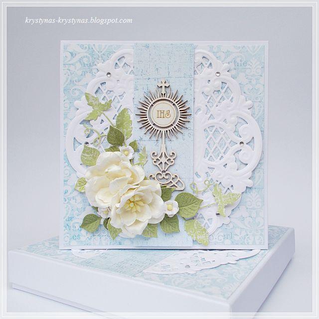 Krystynas i jej papierowy świat, Light blue card with white flowers