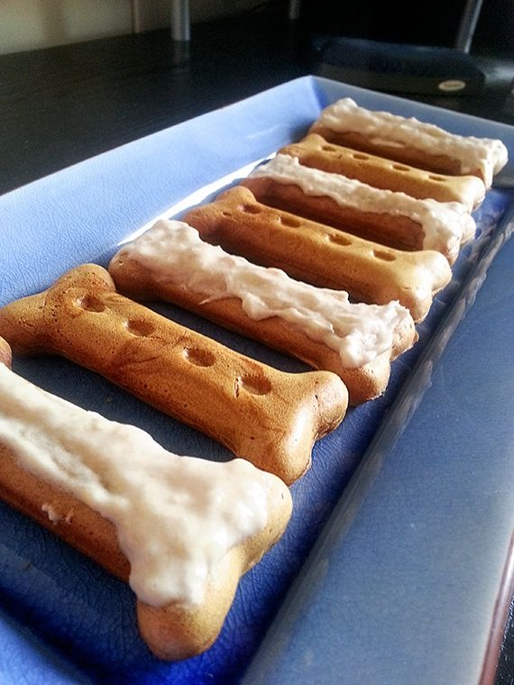 homemade peanut butter dog treats with banana icing