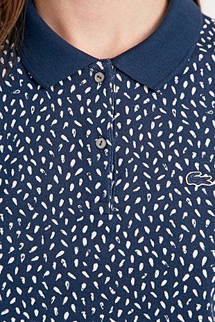 Lacoste Live Printed Polo Shirt in Navy - Urban Outfitters