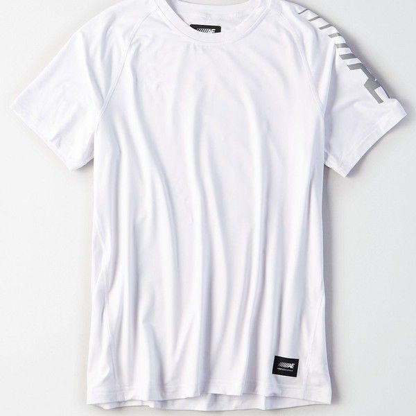 AE Active Graphic Tee (567.090 VND) ❤ liked on Polyvore featuring men's fashion, men's clothing, men's shirts, men's t-shirts, white, men's white crew neck t shirts, mens white shirts, mens white graphic t shirts, mens white short sleeve shirt and mens white t shirts