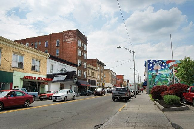Part of Mercer Street, Princeton, West Virginia with just one of it's many street art murals . . .