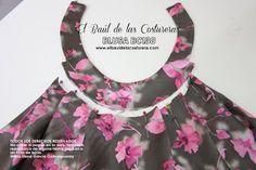 Patrón de costura gratis e instrucciones de confección Blusa cuello halter. Unir cuello al delantero