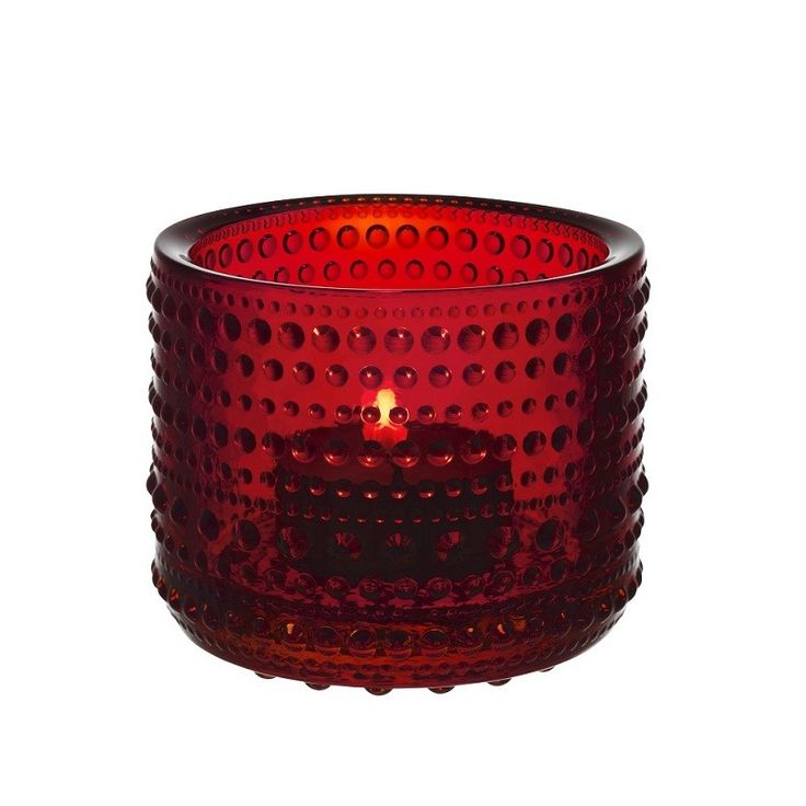 Iittala Kastehelmi Tealight Holder, Red,Gorgeous glass Kastehelmi in this rich red will bring a wonderful ambient glow to any moment & great for the festive season.