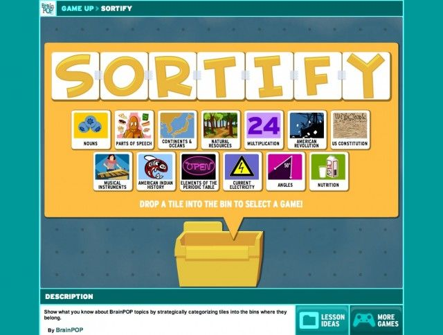 ONLINE RESOURCE~ Your students will love Sortify, a FREE online printable game for all grade levels and subject areas. Worth the time to check it out!