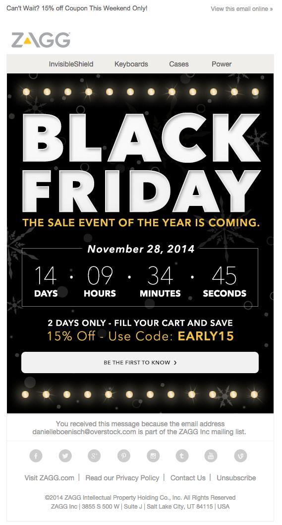 Zagg Black Friday email 2014