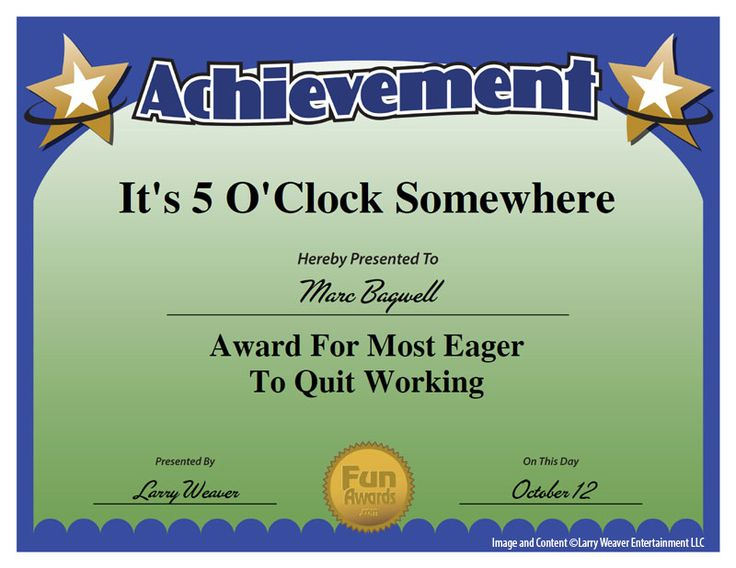 33 best Work Awards images on Pinterest Award certificates - Silly Certificates Awards Templates