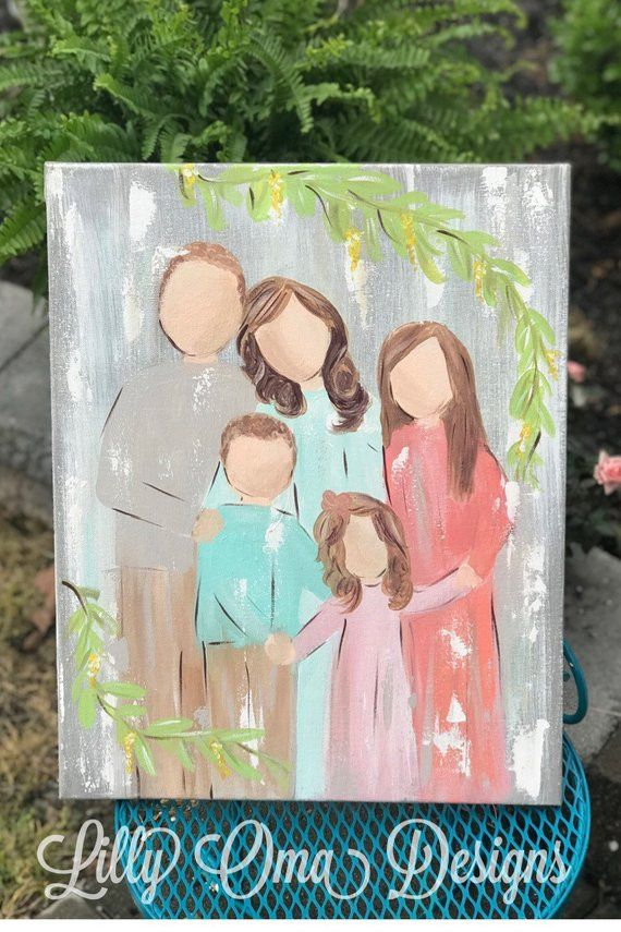 Mothers Day Family Portrait Simple Faceless Painting Children