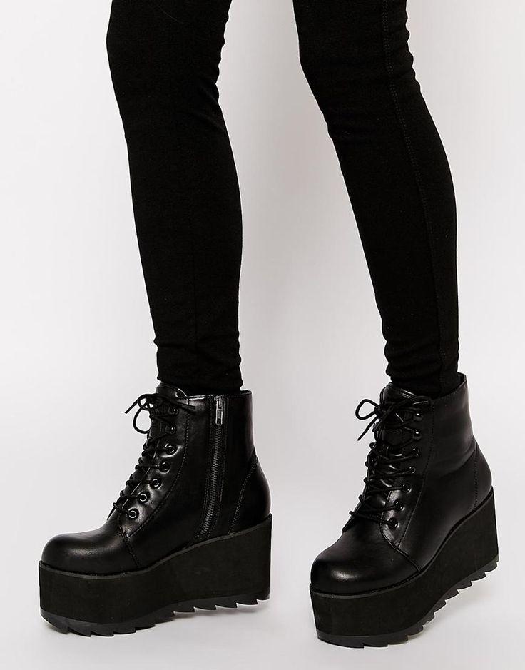 YRU | YRU Hercules Black Flatform Ankle Boots at ASOS