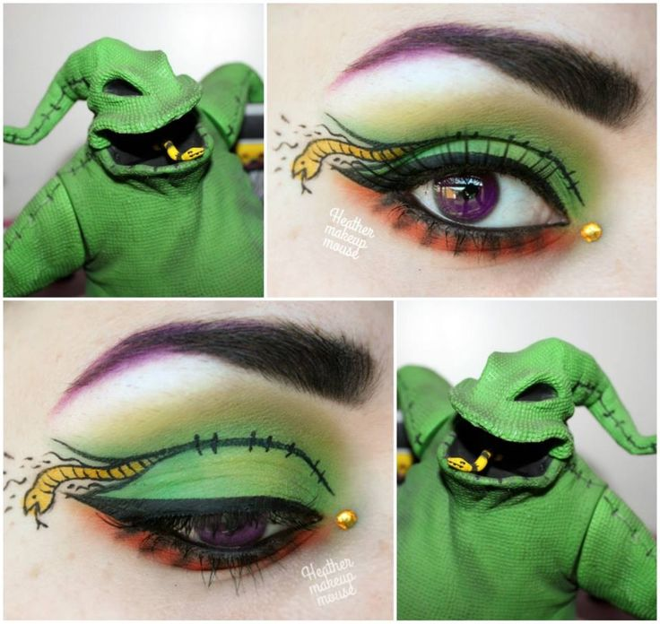 Artistic 'eye art' with a single crystal accent inspired by Oogie Boogie from A Nightmare Before Christmas.