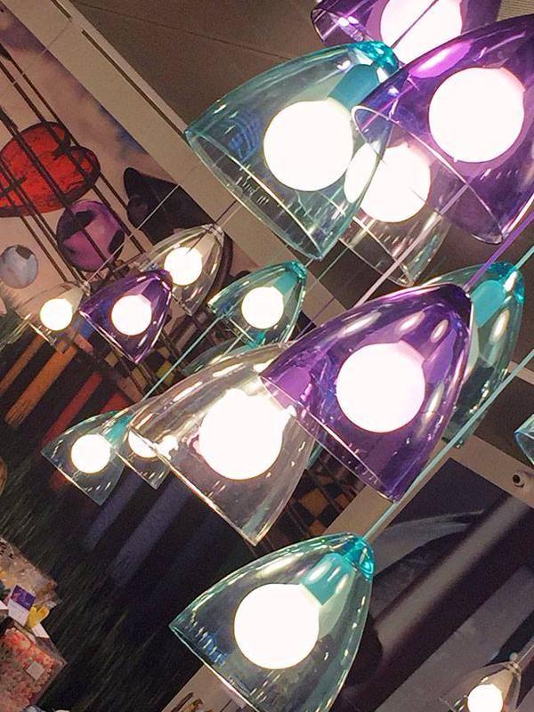 #Nordlux Funk pendants light up 'Stiftens Caramelle e Gelato', the largest sweet shop in Aarhus, Denmark. #Interiors  Courtesy of Bonnelycke MDD's