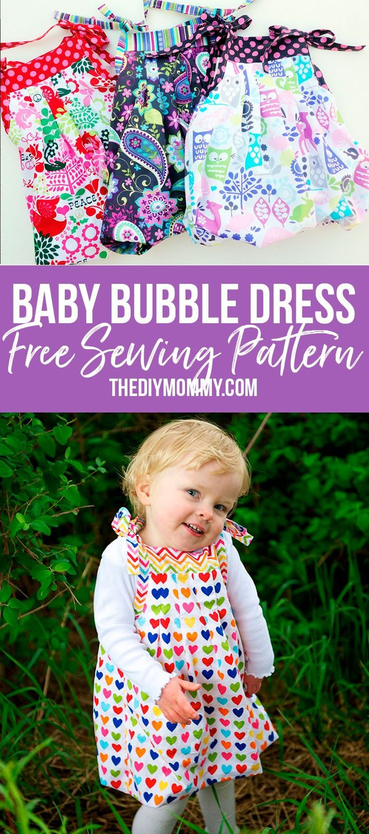 Learn how to sew this adorable bubble baby dress that grows with your child! FREE pattern!