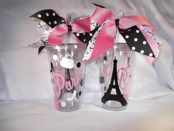 Paris themed cup Personalized 16 oz. Acrylic Tumbler on Etsy, $9.00