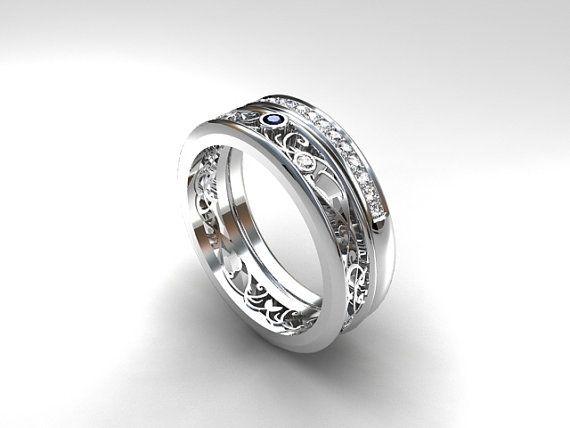 Torkkeli Narrow Filigree ring set with Blue Sapphire