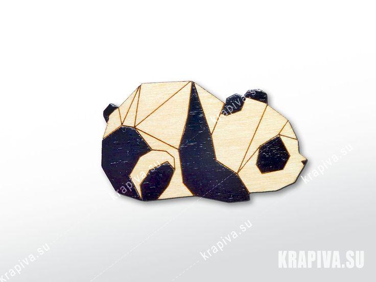 Геометрическая панда №2  значки, брошь, деревянный значок, значок из дерева, деревянные значки, деревянная брошь, ручная работа, handmade, brooch, wood, pin, panda, панда, geometric