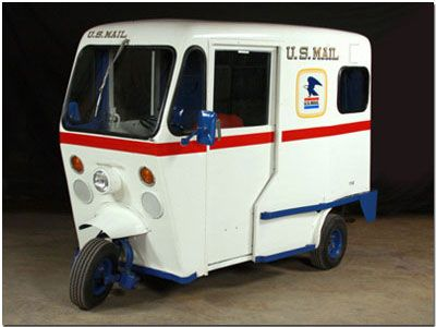 "This three-wheeled, gas-powered, quarter ton, lightweight mail delivery van is known as a ""mailster."""