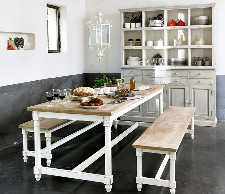 white table, wood top, graywash hutch