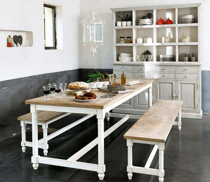 white table, wood top, graywash hutch