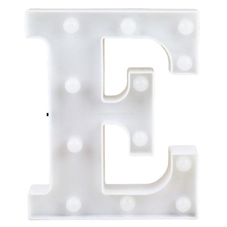 "Letra Luminosa Led 3D a Pilha ""E"" (22cm)"
