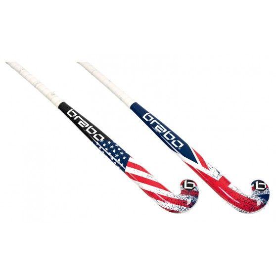 De G-Force Flag #hockeystick junior van #Brabo is een kunststof #kinderstick met een mooie print van de Amerikaanse of de Britse vlag. #dws