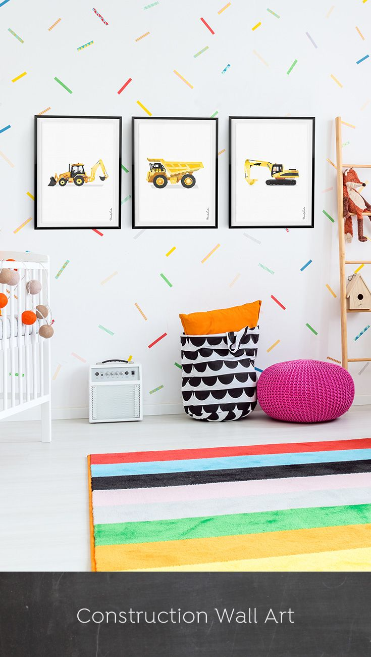 Excavator Print, Excavator Construction Art Print, Construction Birthday, Big Boy Print, Digger Print, Toddler Room Decor, Instant Download, Watercolor, Yellow, Wall Decor, Ideas, Bedroom, Playroom Vehicles, Printable, Birthday Party Decorations, Edible Paper for Cake,DIY, Signs,