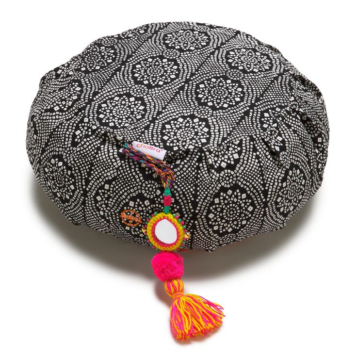 Bandhani Meditation Cushion In Black In 2019
