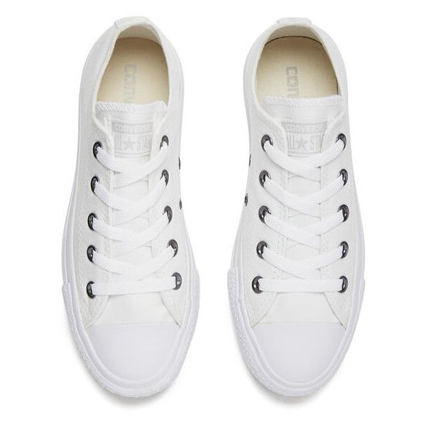 Converse Unisex Chuck Taylor All Star OX Canvas Trainers White... ($67) ❤ liked on Polyvore featuring shoes, sneakers, converse, star sneakers, converse trainers, converse shoes, plimsoll sneakers and white trainers