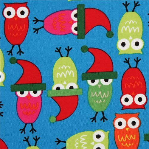 blue Christmas owl fabric by Robert Kaufman #christmas #sewing #owls