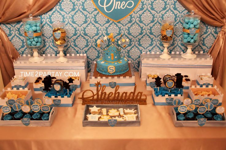 Amazing dessert table at a royal prince 1st birthday party! See more party planning ideas at CatchMyParty.com!