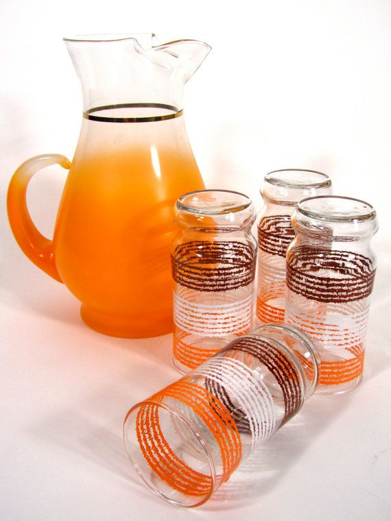 Vintage Striped Orange White and Brown Drinking by Number2PenSo, $15.50
