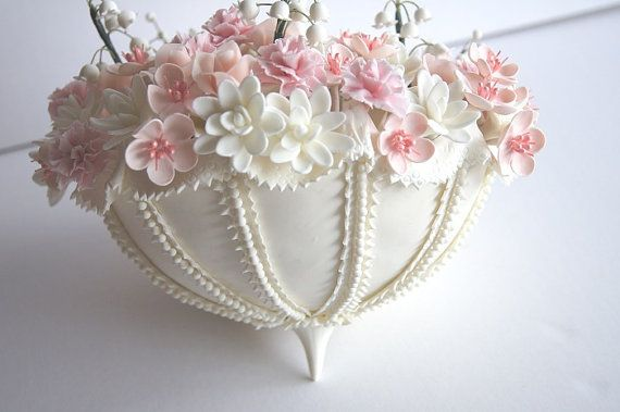 Pastel de bodas Topper Parasol de arcilla hecha a mano por parsi