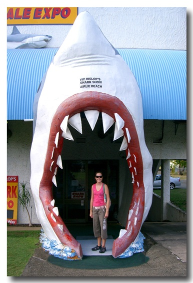 """Not technically a """"Big Thing""""... but the entrance to Vic Heslops shark museum, Airlie Beach, Queensland"""