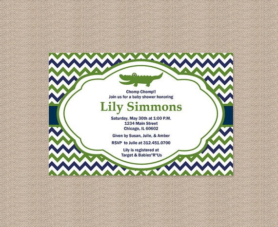 29 best alligator themed baby shower images on pinterest, Baby shower invitations