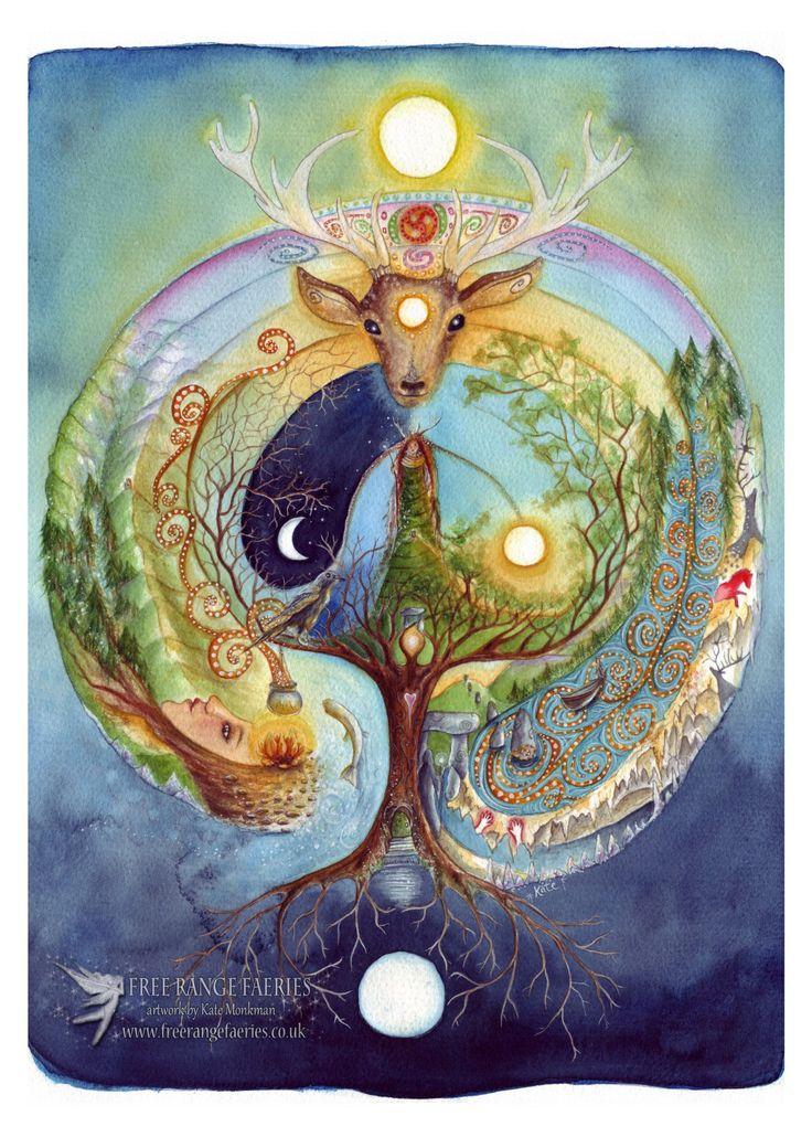 Deer Medicine A4 Print/Celtic Labyrinth/Cerridwen/Shamanic Journey/Elen of the Ways/Goddess Art/Spiritual/Healing art/Nature/Forest/Woodland by Freerangefaeries on Etsy