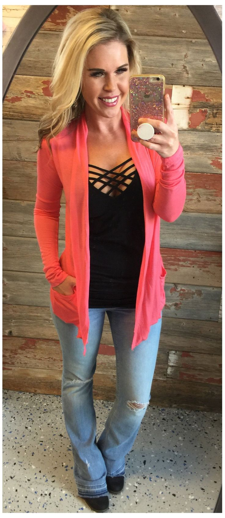 Light Pocket Cardi: Coral from privityboutique