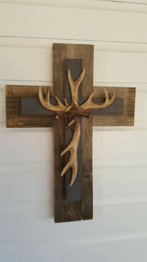 Hunter Unique Rustic Country Slate Gray Deer Antler Cross Hanging Decor Reclaimed Repurposed Recycled Wall Cross Cedar Wood GIFT For Hunter