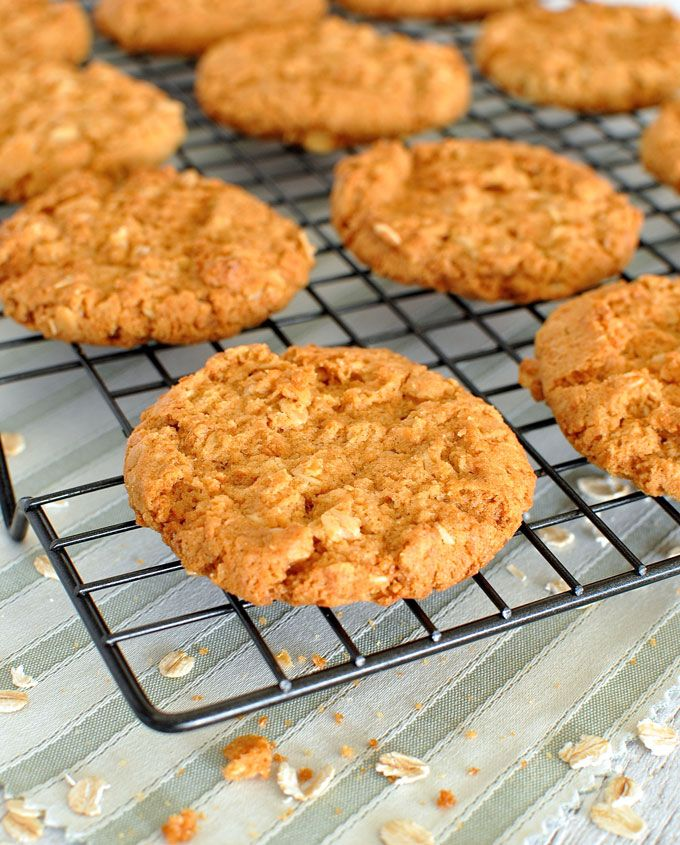 Wonderfully crunchy golden oatmeal cookies, a classic Australian biscuit.